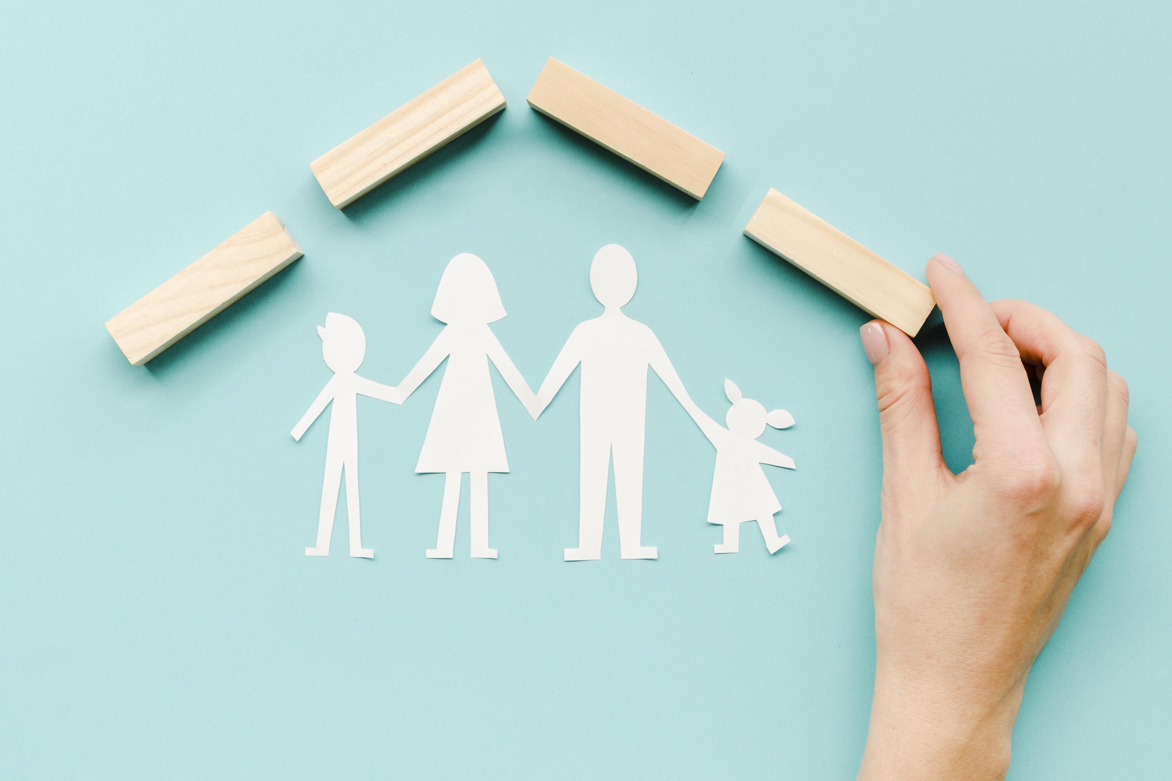 composition-family-concept-blue-background